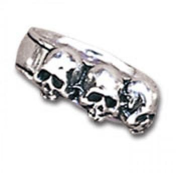 3 Skull Ring Pewter Caput Mortum  Alchemy Gothic Jewelry R72 Unisex