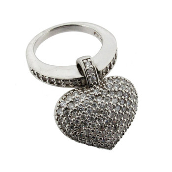 Cubic Zirconia Sterling Silver Heart Ring