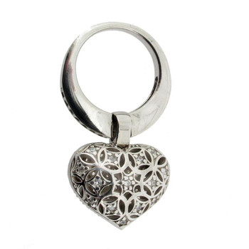 Cubic Zirconia Sterling Silver Heart Ring back side.