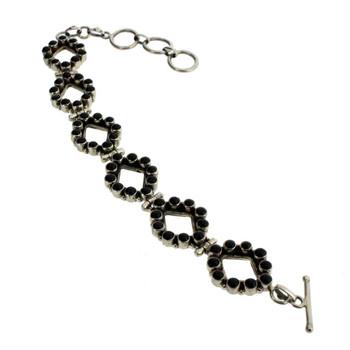 Black Onyx Sterling Silver .925 Gemstone Bracelet Adjustable Semi Precious