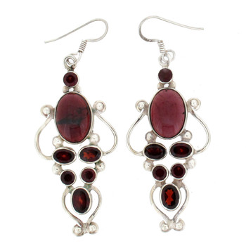Large Garnet sterling silver earrings.
