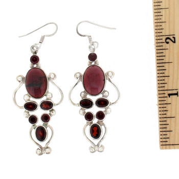 Large Garnet sterling silver earrings.