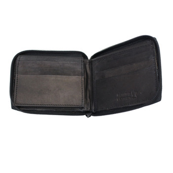 Unisex  Bi-Fold Zip Around Genuine Black Leather Wallet Plain Simple