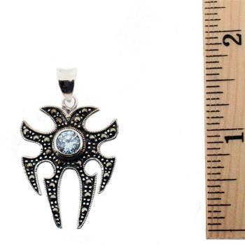 Clear Cubic Zirconia Marcasite pendant.