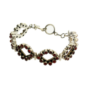 Brown Red Carnelian Bracelet Sterling Silver Adjustable