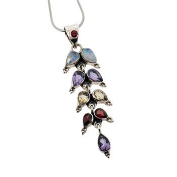 Multi stone sterling silver pendant.