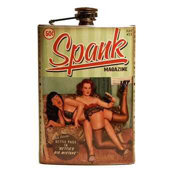 Bettie Page Spank Pin Up Girl Stainless Steel Flask