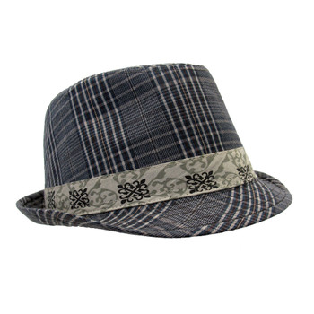 Fedora brown gray plaid hat side view.
