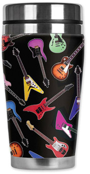 Electric Guitars Travel Mug  Water Proof Insulated Cup Mugzie Rocker Musician
