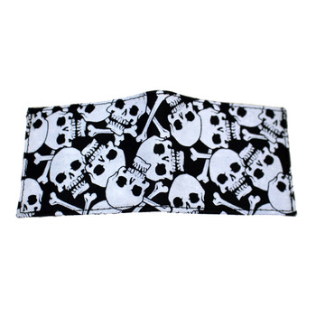 Black leather wallet has white skull and crossbones.