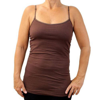 Women's Dark Brown Camisole Tank Top Shirt with built in Bra Cotton Blend