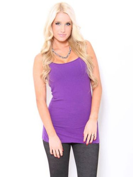 Women's Purple Camisole Tank Top Shirt with built in Bra Shelf