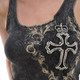 Vocal Apparel Cross and Crown Tank Top close up view