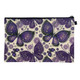 Purple Boho Butterfly Linen Cosmetic Bag back view