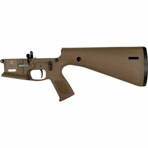 KE Arms KE Arms KP-15 Polymer Complete AR15 Lower Receiver - FDE or DMR and Ambidextrous Controls or Integral Buttstock and Pistol Grip
