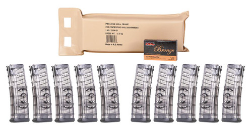 ETS PMC Bronze .223 Remington Rifle Ammo - 55 Grain or FMJ-BT or 200rd Battle Pack Bundled w/ TEN ETS .223 Rem and 5.56 NATO Rifle Mag Smoke Gray or FITS AR15 Rifle or 30RD Mag or WITH COUPLER