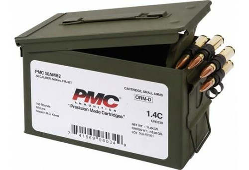 PMC Ammunition PMC Bronze .50 BMG Rifle Ammo - 660 Grain or FMJ-BT or 100rd Ammo Can