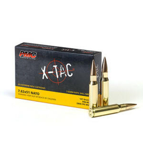PMC Ammunition PMC X-TAC 7.62NATO Rifle Ammo - 147 Grain or FMJ-BT or 20rd Box