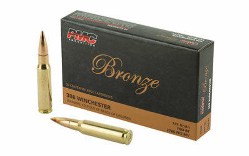 PMC Ammunition PMC Bronze .308 Winchester Rifle Ammo - 147 Grain or FMJ-BT or 20rd Box
