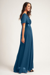 Evelyn Chiffon Short Sleeved Bridesmaid Dress in Teal