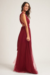Tulle Overlay Skirt For Classic Multiway Dress in Burgundy