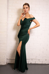 Gwen Off Shoulder Satin Mermaid Formal Dress in Emerald Green