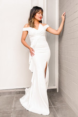 Gwen Off Shoulder Satin Mermaid Formal Dress in Ivory