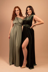 Velvet Multiway Infinity Dress in Dark Olive