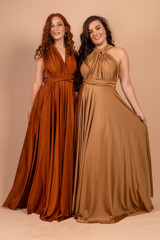 Luxe Satin Ballgown Multiway Infinity Dress in Rust