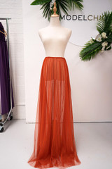 Tulle Overlay Skirt For Classic Multiway Dress in Rust