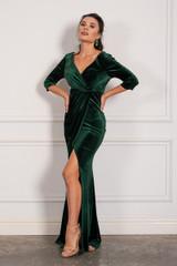 Isla Velvet Sleeved Split Mermaid Formal Dress in Burgundy