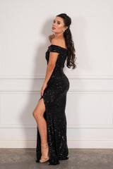 Kendall Sequins Off Shoulder Split Mermaid Formal Dress in Black