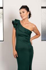 Noami One Shoulder Ruffle Split Mermaid Formal Dress in Emerald Green