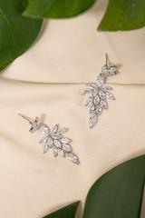 Celestia Crystal Bridal Earrings in Silver