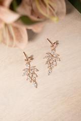 Celestia Crystal Bridal Earrings in Rose Gold