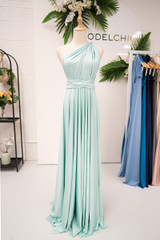 Luxe Satin Ballgown Multiway Infinity Dress in Sage Mint