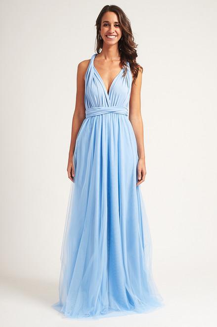 Tulle Overlay Skirt For Classic Multiway Dress in Cornflower Blue