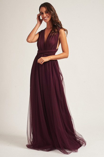 Tulle Overlay Skirt For Classic Multiway Dress in Mulberry