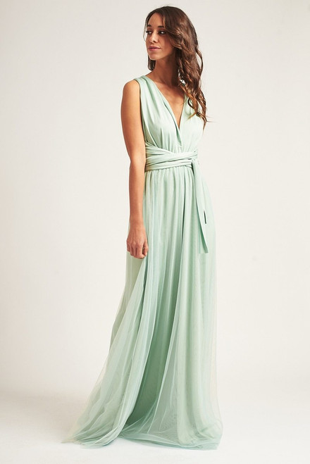 Tulle Overlay Skirt For Classic Multiway Dress in Light Sage