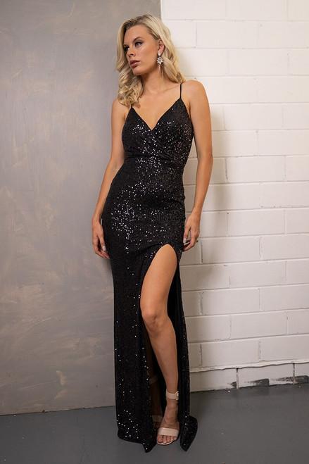 Averi Spaghetti Strap Split Sequins Formal Dress in Black