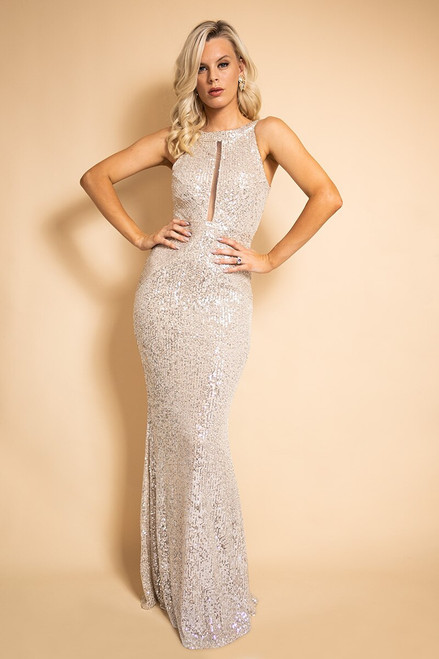 Kristine Sleeveless Sequins Formal Dress in Champagne