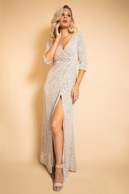 Eileen Long Sleeved Split Sequins Formal Dress in Champagne