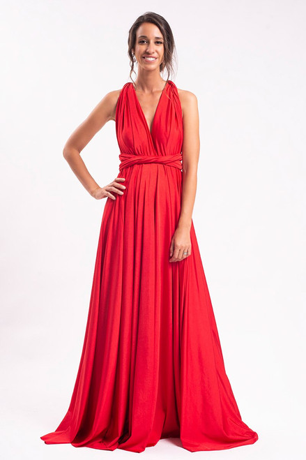 Luxe Satin Ballgown Multiway Infinity Dress in Red