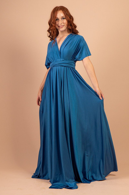 Luxe Satin Ballgown Multiway Infinity Dress in Sapphire Blue