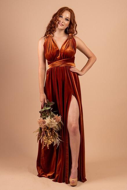 Velvet Multiway Infinity Dress in Copper