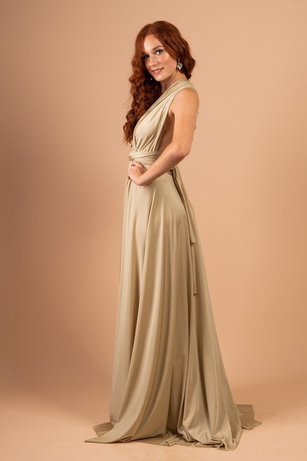 Luxe Satin Ballgown Multiway Infinity Dress in Light Olive