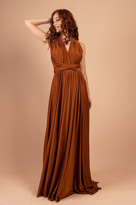 Luxe Satin Ballgown Multiway Infinity Dress in Rust
