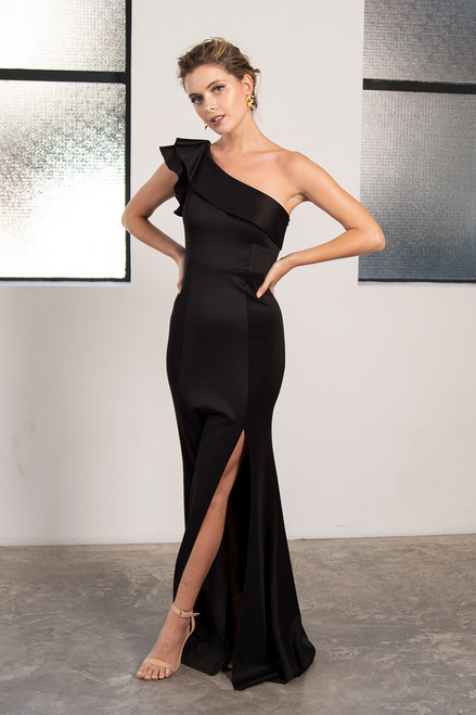 Noami One Shoulder Ruffle Split Mermaid Formal Dress in Black