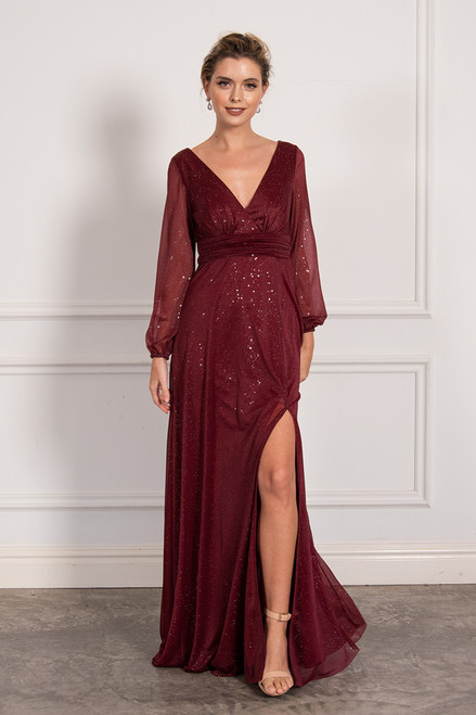 Stella Long Sleeved Sparkly Split Formal Dress in Burgundy