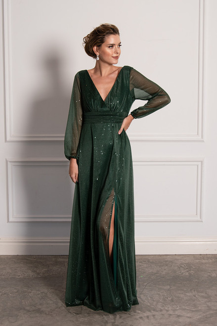 Stella Long Sleeved Sparkly Split Formal Dress in Emerald Green